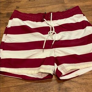 Men's red and white striped H&M bathing suit